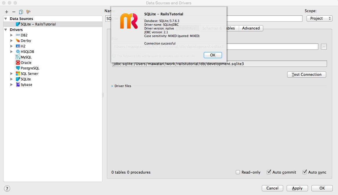 RubyMineからローカルのSQLiteに接続する   mawatari jp